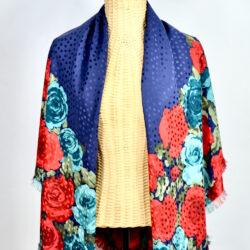 Charles Jourdan silk shawl large navy blue aqua red roses french designer silk scarf couture 1