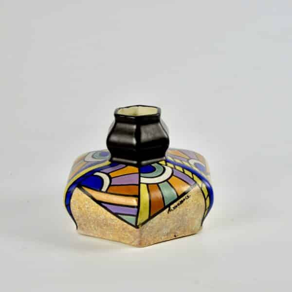 divine style french antiques art deco polychrome vase dubois belgium 1