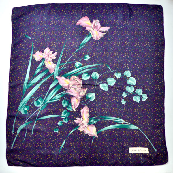 pierre Balmain vintage french silk scarf orchid purple 1970s french designer scarf 1