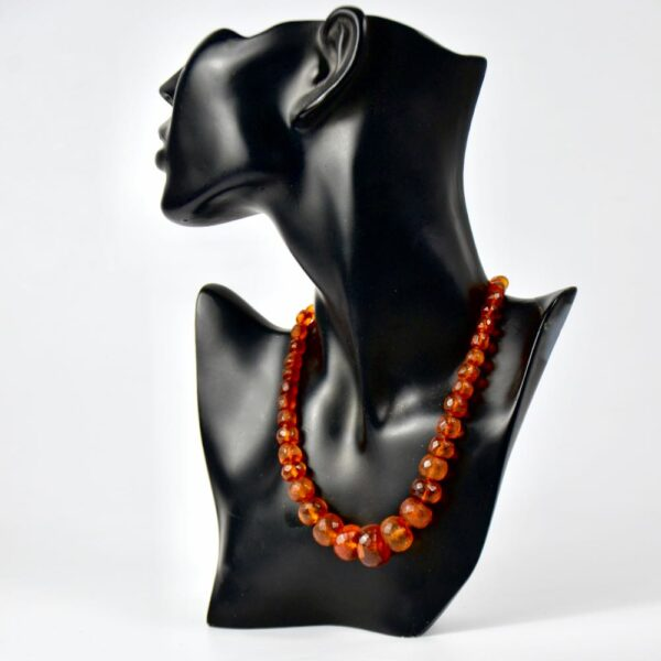 antique amber facetted bead necklace divine style french antiques