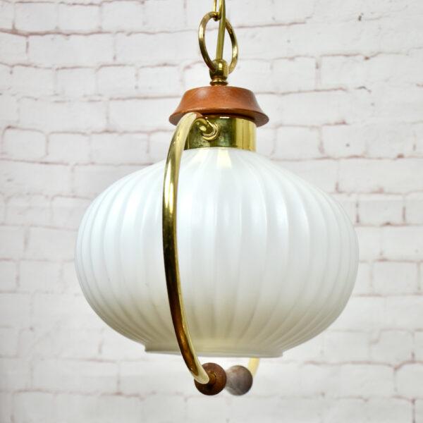 Danish modern light in teak and glass 1960s pendant light ceiling light 1