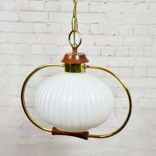 Danish modern light in teak and glass 1960s pendant light ceiling light 2 (1)