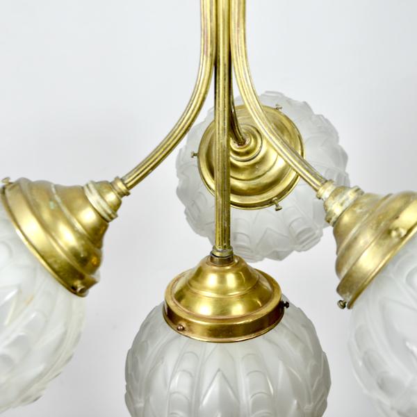 Art Deco four globe chandelier light in frosted glass and bronze 1930 Art Deco four globe chandelier light in frosted glass and bronze 1930 2 (1)