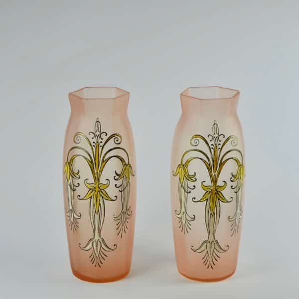Divine style french antiques pair legras glass vase 2