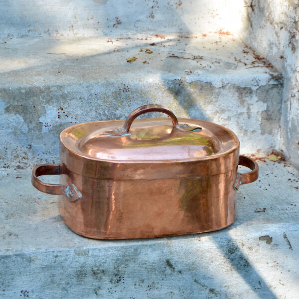 Antique French copper braiser with dovetail seams