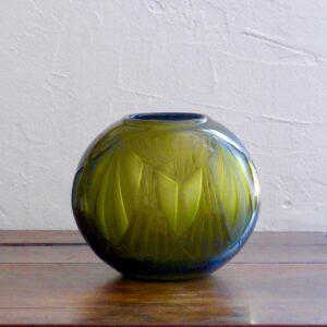 legras art deco etched globe vase olive green 1925