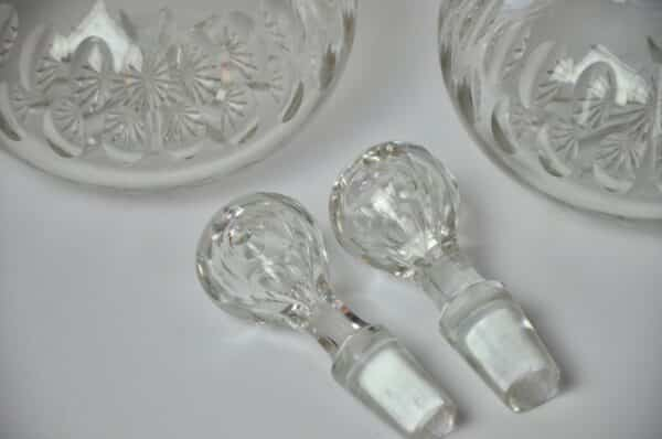 pair Victorian crystal decanters 2