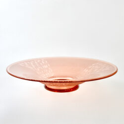 charles schneider art deco bowl peach glass geometric acid etched 1930 French glass le verre français