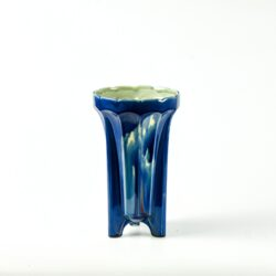 divine style french antiques Fives Lille Art Deco vase with marbled blue glaze 1930s 1