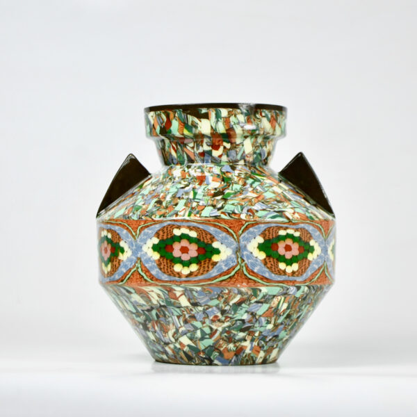 Gerbino vallauris vase art deco mosaic 1940s french art pottery (1)