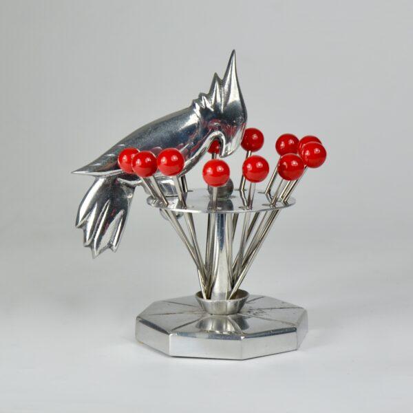 art deco cocktail stick set woodpecker chrome bakelite 1930s vintage barware 2