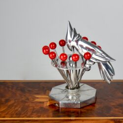 art deco cocktail stick set woodpecker chrome bakelite 1930s vintage barware