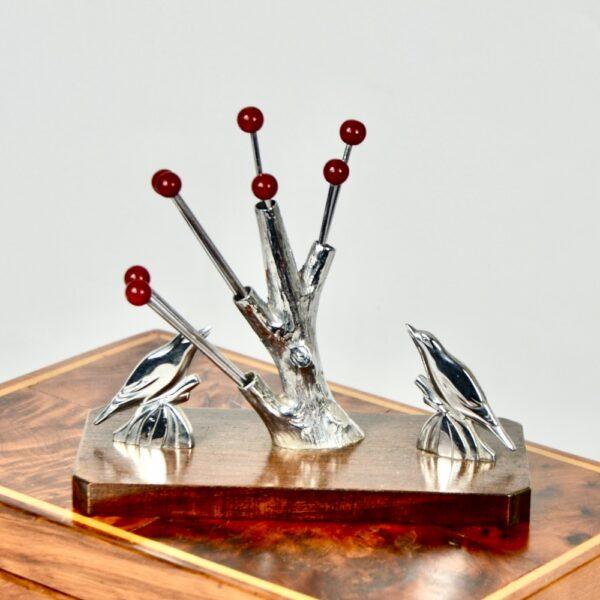 birds and tree art deco cocktail stick set chrome and bakelite 1930s vintage barware 1 (1)