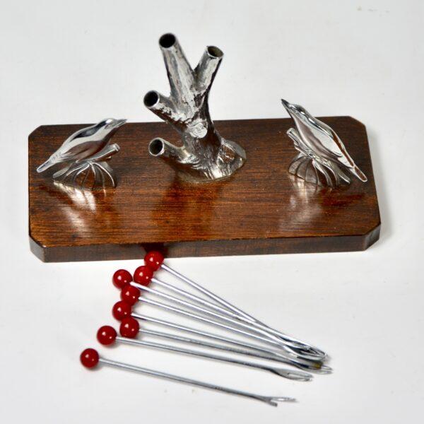 birds and tree art deco cocktail stick set chrome and bakelite 1930s vintage barware 2