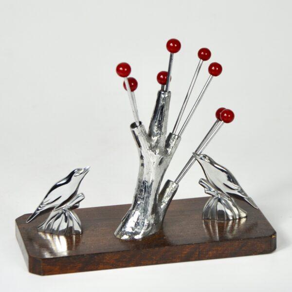birds and tree art deco cocktail stick set chrome and bakelite 1930s vintage barware