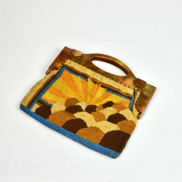 divine style french antiques Art Deco embroidered bag purse with sunburst design