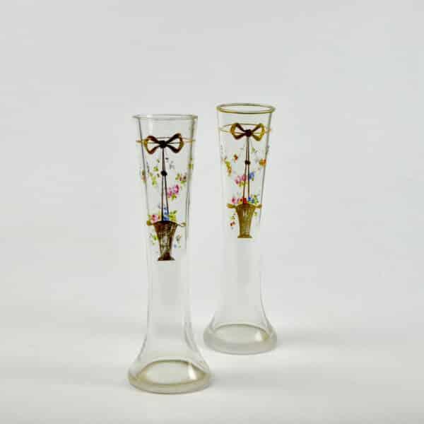 divine divine style french antiques pair josephine enamel secessionist vases