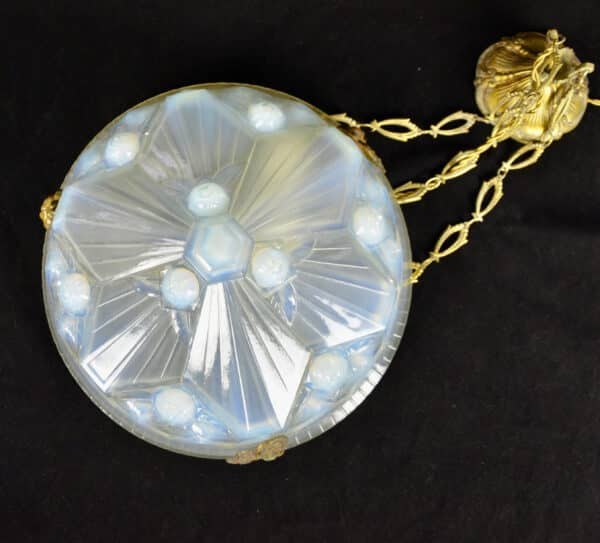 divine style french antiques art deco opalescent glass ceiling light Jean Gauthier 2