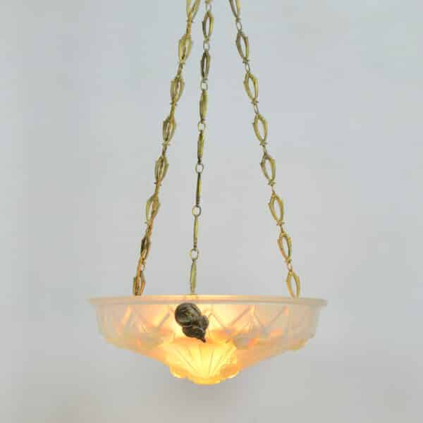 divine style french antiques art deco opalescent glass ceiling light Jean Gauthier 7
