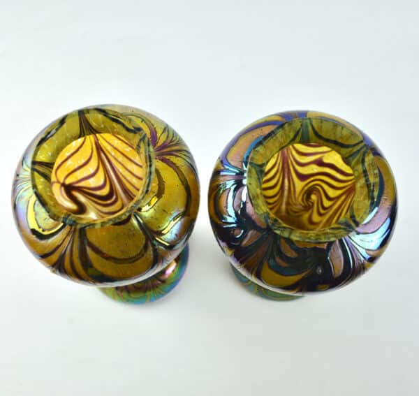 divine style french antiques loetz iridescent baluster vases 5