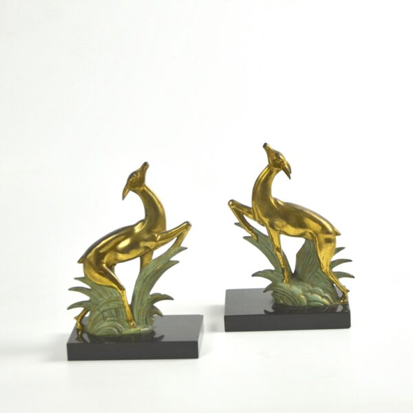 divine style french antiques art deco bookends leaping deer onyx 2