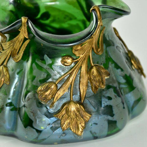 divine style french antiques loetz art nouveau vase gilt ornament 3