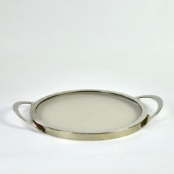 divine style french antiques modernist serving tray 1970s steel smoked glass