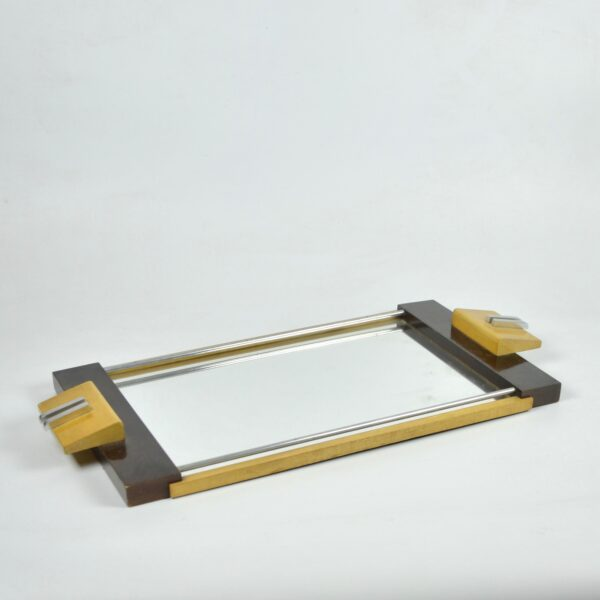 divine style french antiques art deco chrome mirror tray 4