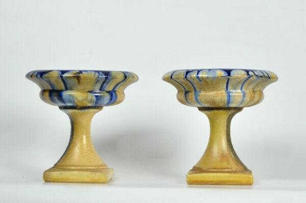 pair Art Deco Belgian pottery bowls on pedestals 1920s