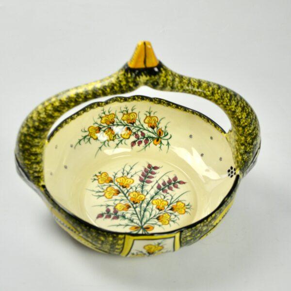 divine style french antiques large Henriot Quimper swan basket 1