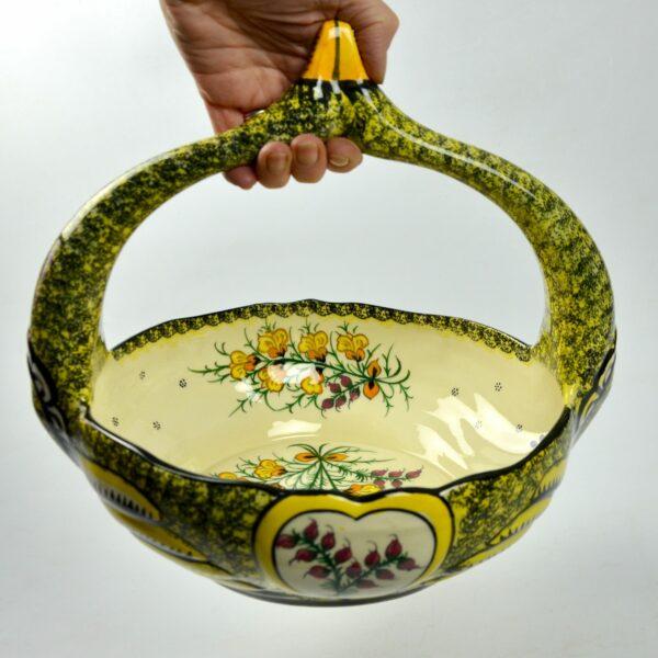 divine style french antiques large Henriot Quimper swan basket 4
