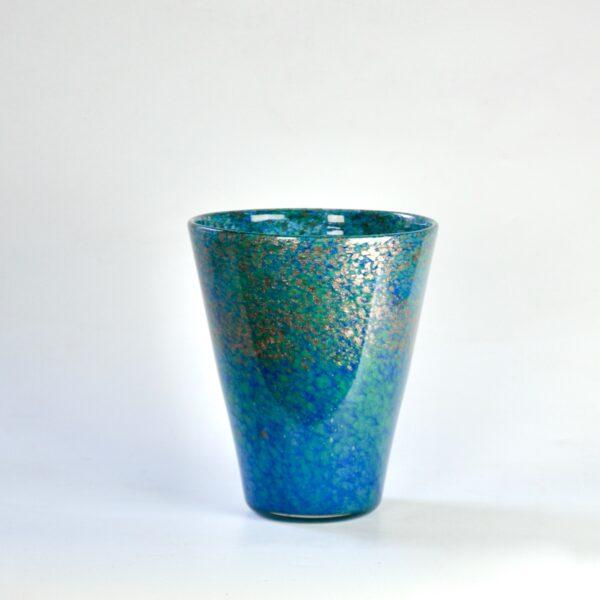 divine style french antiques Monart vase blue gold aventurine 1930