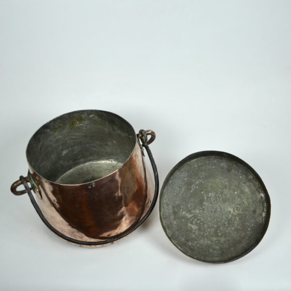 divine style french antiques large 19thc hammered copper cauldron lid dovetail 4