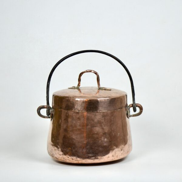 divine style french antiques large 19thc hammered copper cauldron lid dovetail 5