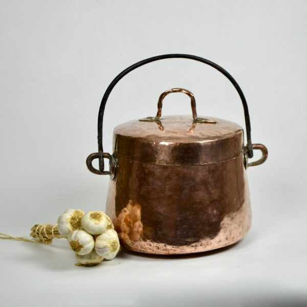 divine style french antiques large 19thc hammered copper cauldron lid dovetail