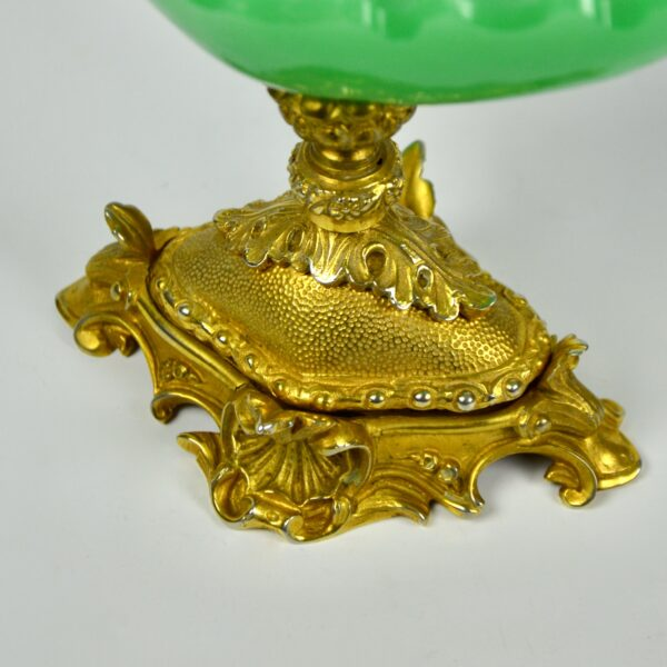 divine style french antiques napoleon III green opaline tazza gilt bronze 3