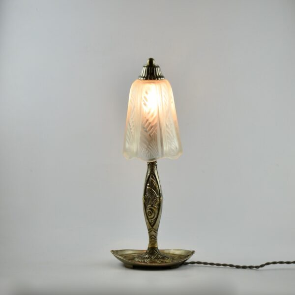 divine style french antiques muller freres art deco lamp nickel plated base 3