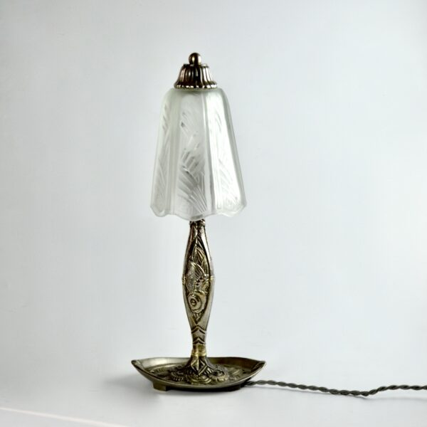 divine style french antiques muller freres art deco lamp nickel plated base 2