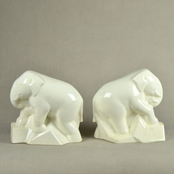 divine style french antiques pair of Art Deco craquelé elephant book ends c1930 2