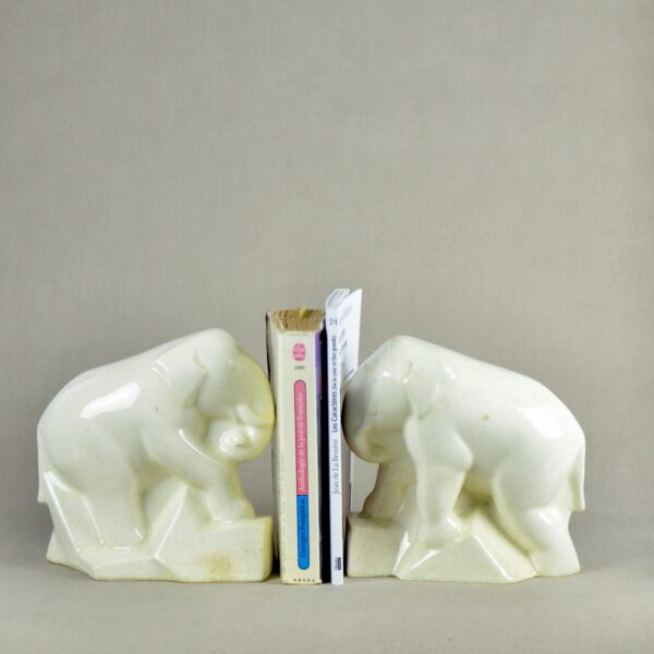 divine style french antiques pair of Art Deco craquelé elephant book ends c1930 3