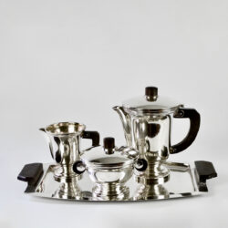 art deco silver plate coffee set rosewood handles 1930
