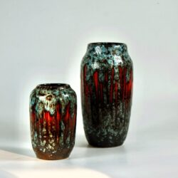 2 Scheurich Lora vase west germany fat lava blue and red glaze 1970s