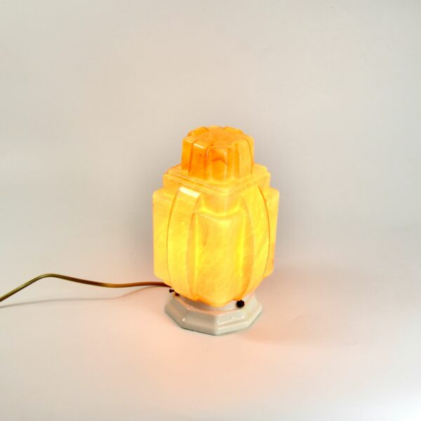 art deco skyscraper lamp in marbled glass divine style french antiques 1