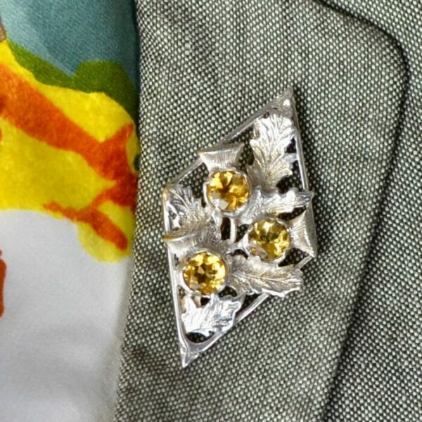 scottish silver thistle brooch citrine divine style french antiques 1