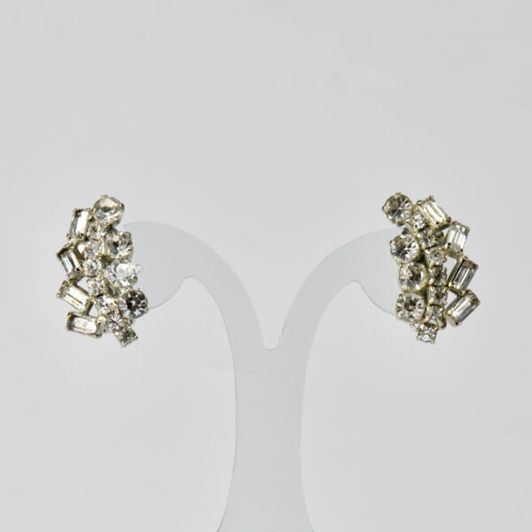 Rhodium plated diamante earrings vintage 1950s clips