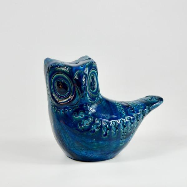 bitossi bird aldo londi rimini blu italian pottery ceramic owl 4