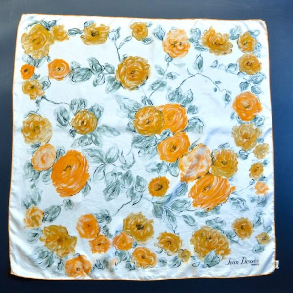 jean desses silk scarf floral 1950s divine style french antiques 1
