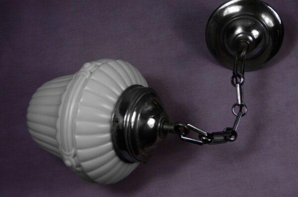 1920s french opaline ceiling light pendant light milk glass chrome 4