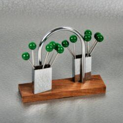 Green Bakelite Chrome Cocktail Stick Set, Art Deco Hardwood 1930 bar accessory