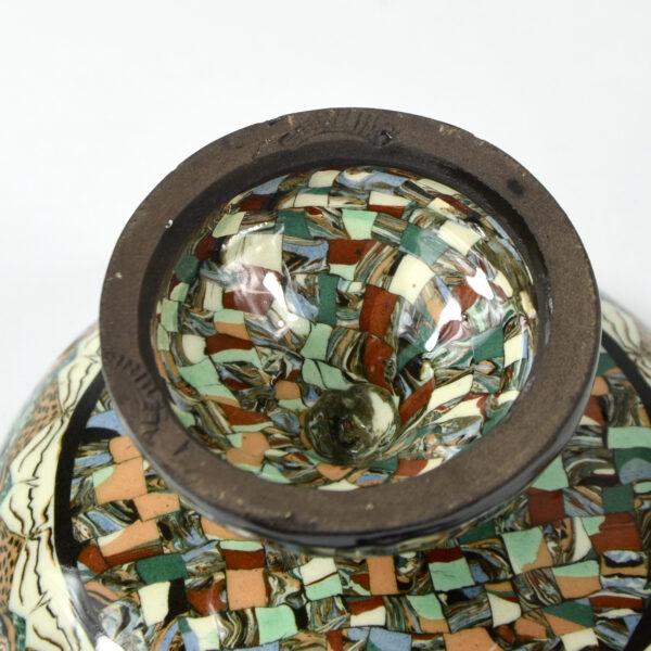 Gerbino Vallauris French mosaic pedestal bowl art deco French pottery ceramics 4 (1)